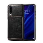 Dibase TPU + PC + PU Crazy Horse Texture Protective Case for Galaxy A50, with Holder & Card Slots (Black)