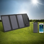 ALLPOWERS Solar Battery Charger Portable 5V 15W Dual USB+ Type-C Portable Solar Panel Charger Outdoors Foldable Solar Panel
