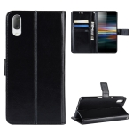 Retro Crazy Horse Texture Horizontal Flip Leather Case for Sony Xperia L3, with Holder & Card Slots & Wallet & Lanyard (Black)