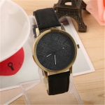 Denim Design Leather Strap Quartz Watches for Women(Black)