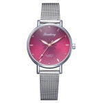 GAIETY Dial Flowers Metal Band Quartz Watch(Rose Red)