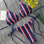 2 PCS Ladies Sexy Print Striped Lace Bikini, Size:M(Blue)