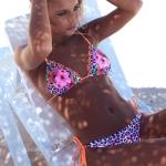 2 PCS Sexy Women Suit Bandage Flower Side Padded Lady Swimwear Foam Bra(L)