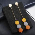 Retro Long Hanging Earrings Wood Beads Pendant Metal Tassel Ethnic Drop Earrings