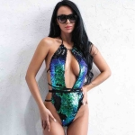 Summer Women Sexy One-piece Bandage Swimsuit  Sequin Lace Up Bikini, Size:L(Green)