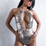 Summer Women Sexy One-piece Bandage Swimsuit  Sequin Lace Up Bikini, Size:L(Silver)