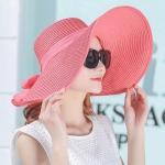 Women Summer Hats Foldable Wide Large Brim Beach Sun Straw Cap Elegant Hats Caps, Color:Watermelon red(M)