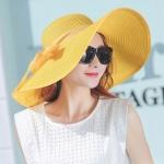 Women Summer Hats Foldable Wide Large Brim Beach Sun Straw Cap Elegant Hats Caps, Color:YELLOW(M)