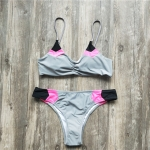 Women Sexy Brazilian Bikini Patchwork Swimsuit, Size:S(grey)