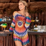 Women Beach Out Of Dresses And Tunic Beachwear By Knits Rainbow Knitting Hollow Overall(One Size)