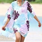 Leaf print V-neck Bikini Blouse Beach Sunscreen Shirt Swimsuit Outside Hood Clothing Female One Size