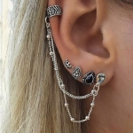 4 PCS Bohemia Punk Style Vintage Crown Tassel Earring Sets for Women
