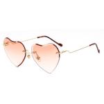 Fashion Metal Frameless Heart Sunglasses Sunglasses Colorful Film Ladies Sunglasses(Orange)