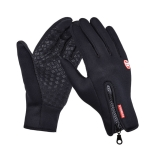 Outdoor Sports Hiking Winter Leather Soft Warm Bike Gloves For Men Women, Size:S(Black)