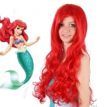 Anime The Little Mermaid Princess Ariel Cosplay Wig Halloween Wig Party Stage Synthetic Red Curly Hair