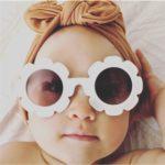 Cute Sun Flower Children's Sunglasses Fashionable Baby Anti-UV Sunglasses(Bright Black)