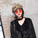 Vintage Personality Women Wool Leopard Print Cap(yellow)