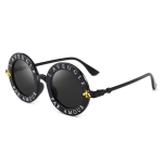 Women Vintage Round Frame Gradient Shades Sun Glasses(Black Gray)