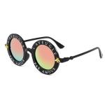 Women Vintage Round Frame Gradient Shades Sun Glasses(Orange)