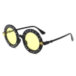 Women Vintage Round Frame Gradient Shades Sun Glasses(Yellow)