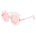 Women Vintage Round Frame Gradient Shades Sun Glasses(Pink)