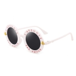 Women Vintage Round Frame Gradient Shades Sun Glasses(Black and Pink)