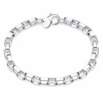 Jewelry Silver Plated Jewelry Creative Exquisite Big long Checkered Bracelet(Silver)