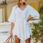 Bikini White Beach Dress Cotton Lace Cover-ups Swimsuit, Size:One Size(White)