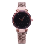 Luxury Mesh Ladies Clock Magnet Buckle Starry Diamond Geometric Quartz Wristwatch Women Watches(Rose gold)