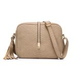 Women Messenger Bags Small ShoulderBag Female Tassel Handbag Purse Fashion Artificial Leather Crossbody Bag for Ladies(Khaki)