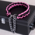 Large Dog German Shepherd Walk the Dog P Chain Necklet Collar for Medium and Large Dogs, Color:Black Pink(XL)