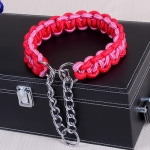 Large Dog German Shepherd Walk the Dog P Chain Necklet Collar for Medium and Large Dogs, Color:Red Pink(XL)