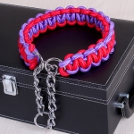Large Dog German Shepherd Walk the Dog P Chain Necklet Collar for Medium and Large Dogs, Color:Red Purple(XL)