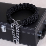 Large Dog German Shepherd Walk the Dog P Chain Necklet Collar for Medium and Large Dogs, Color:Black(XL)