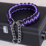 Large Dog German Shepherd Walk the Dog P Chain Necklet Collar for Medium and Large Dogs, Color:Black Purple(XL)