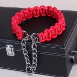 Large Dog German Shepherd Walk the Dog P Chain Necklet Collar for Medium and Large Dogs, Color:Red(XL)