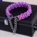 Large Dog German Shepherd Walk the Dog P Chain Necklet Collar for Medium and Large Dogs, Color:Pink Purple(XL)