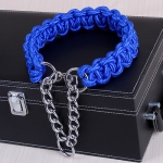 Large Dog German Shepherd Walk the Dog P Chain Necklet Collar for Medium and Large Dogs, Color:Blue(XL)