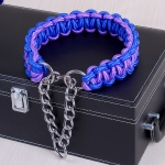 Large Dog German Shepherd Walk the Dog P Chain Necklet Collar for Medium and Large Dogs, Color:Blue Purple(XL)
