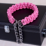 Large Dog German Shepherd Walk the Dog P Chain Necklet Collar for Medium and Large Dogs, Color:Pink(XL)
