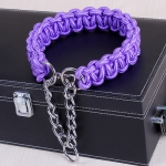 Large Dog German Shepherd Walk the Dog P Chain Necklet Collar for Medium and Large Dogs, Color:Purple(XL)