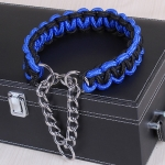 Large Dog German Shepherd Walk the Dog P Chain Necklet Collar for Medium and Large Dogs, Color:Blue Black(L)