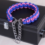 Large Dog German Shepherd Walk the Dog P Chain Necklet Collar for Medium and Large Dogs, Color:Blue Pink(M)