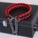 Large Dog German Shepherd Walk the Dog P Chain Necklet Collar for Medium and Large Dogs, Color:Black Red(S)