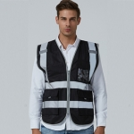 Multi-pockets Safety Vest Reflective Workwear Clothing, Size:XXL-Chest 130cm(Black)