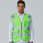Multi-pockets Safety Vest Reflective Workwear Clothing, Size:L-Chest 118cm(Green)