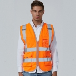 Multi-pockets Safety Vest Reflective Workwear Clothing, Size:M-Chest 112cm(Orange)