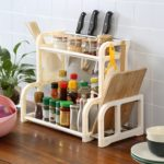 Two Floor Multi-functional Storage Knife Holder(White)