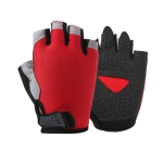 Summer Men Women Fitness Gloves Gym Weight Lifting Cycling Yoga Training Thin Breathable Antiskid Half Finger Gloves, Size:M(Red)