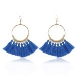 Tassel Earrings for Women Ethnic Big Drop Earrings Bohemia Fashion Jewelry Trendy Cotton Rope Fringe Long Dangle Earrings(Blue)